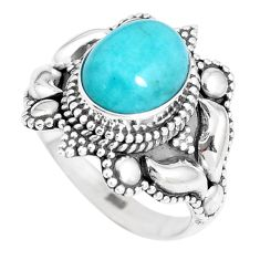 4.38cts natural green peruvian amazonite silver solitaire ring size 6.5 p15406