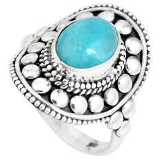 4.19cts natural green peruvian amazonite silver solitaire ring size 8.5 p15410