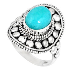 4.19cts natural green peruvian amazonite 925 silver solitaire ring size 8 p15412