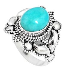 4.21cts natural green peruvian amazonite silver solitaire ring size 6.5 p15413