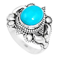 925 silver natural green kingman turquoise oval solitaire ring size 7.5 p15424
