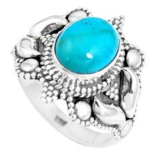 4.21cts natural green kingman turquoise 925 silver solitaire ring size 7 p15426