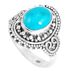 925 silver natural green kingman turquoise oval solitaire ring size 7.5 p15433
