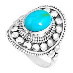 4.71cts natural green kingman turquoise 925 silver solitaire ring size 8 p15436