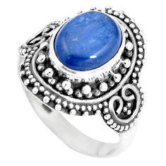 4.38cts natural blue kyanite 925 sterling silver solitaire ring size 7 p15448