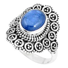 3.91cts natural blue kyanite 925 sterling silver solitaire ring size 8.5 p15451