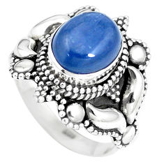 925 sterling silver 4.55cts natural blue kyanite solitaire ring size 6.5 p15458