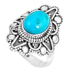 925 silver 4.38cts natural green kingman turquoise solitaire ring size 7 p15460