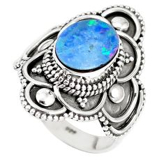 925 silver natural blue doublet opal australian solitaire ring size 7 p15468