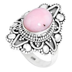 3.91cts natural pink opal 925 sterling silver solitaire ring size 6.5 p15489
