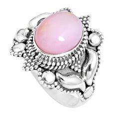 4.20cts natural pink opal 925 sterling silver solitaire ring size 6.5 p15498