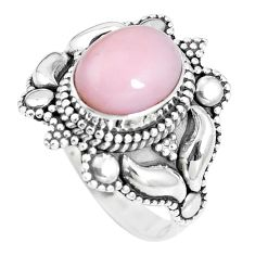 4.21cts natural pink opal 925 sterling silver solitaire ring size 7.5 p15499