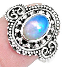 Natural multi color ethiopian opal 925 silver solitaire ring size 8 p15528