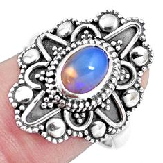 Natural multi color ethiopian opal 925 silver solitaire ring size 8.5 p15550