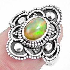 Natural multi color ethiopian opal 925 silver solitaire ring size 7.5 p15554