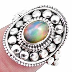 Natural multi color ethiopian opal 925 silver solitaire ring size 7 p15555