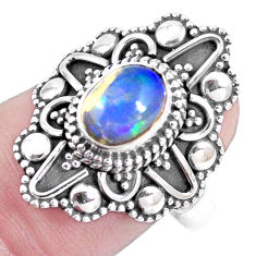 Natural multi color ethiopian opal 925 silver solitaire ring size 8 p15560