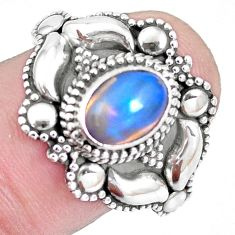 1.79cts natural ethiopian opal 925 silver solitaire ring jewelry size 8.5 p15563