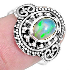 Natural multi color ethiopian opal 925 silver solitaire ring size 8 p15564