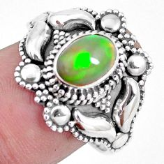 2.08cts natural ethiopian opal 925 sterling silver solitaire ring size 8 p15569