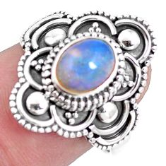 Natural multi color ethiopian opal 925 silver solitaire ring size 7.5 p15574