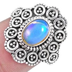 1.70cts natural multi color ethiopian opal silver solitaire ring size 7 p15578