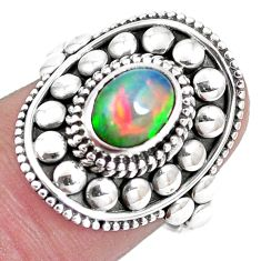 2.01cts natural multicolor ethiopian opal silver solitaire ring size 7 p15580