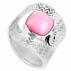 5.63cts natural pink opal 925 silver adjustable solitaire ring size 7 p15645