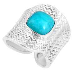 Natural peruvian amazonite 925 silver adjustable solitaire ring size 8 p15678
