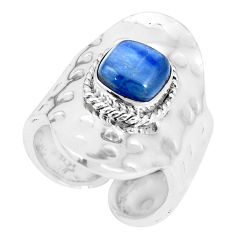 3.24cts natural blue kyanite 925 silver adjustable solitaire ring size 6 p15715
