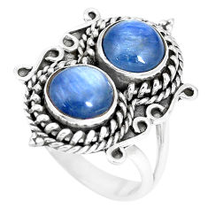 7.02cts natural blue kyanite 925 sterling silver solitaire ring size 8.5 p15775