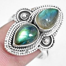 5.95cts natural blue labradorite 925 sterling silver ring jewelry size 8 p15789