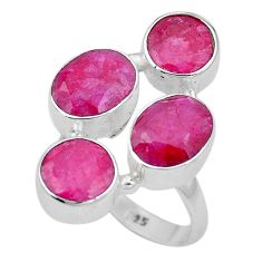 14.87cts natural red ruby 925 sterling silver ring jewelry size 8 p15906