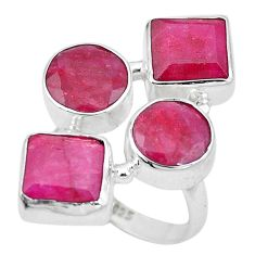 17.14cts natural red ruby 925 sterling silver ring jewelry size 8.5 p15911
