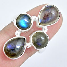 925 sterling silver 8.44cts natural blue labradorite pear ring size 8 p15924