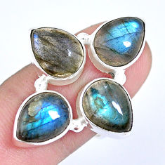 925 sterling silver 11.02cts natural blue labradorite pear ring size 7 p15930