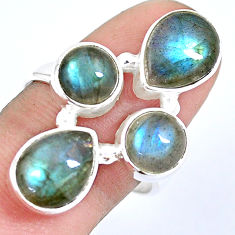 8.96cts natural blue labradorite 925 sterling silver ring size 8.5 p15933