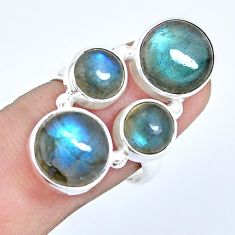 13.45cts natural blue labradorite 925 sterling silver ring size 7.5 p15936
