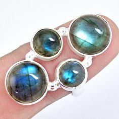 13.84cts natural blue labradorite 925 sterling silver ring size 7.5 p15937