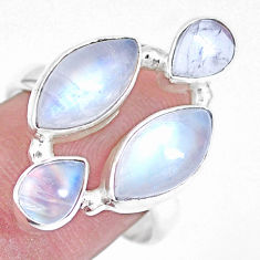 12.04cts natural rainbow moonstone 925 sterling silver ring size 8.5 p15942