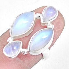 11.66cts natural rainbow moonstone 925 sterling silver ring size 6.5 p15944