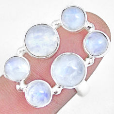 925 sterling silver 12.30cts natural rainbow moonstone round ring size 7 p15945