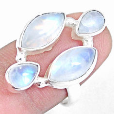 11.27cts natural rainbow moonstone 925 sterling silver ring size 7 p15948