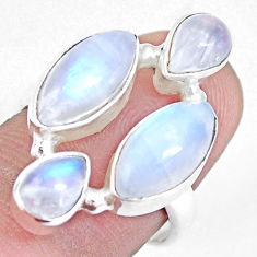 11.65cts natural rainbow moonstone 925 sterling silver ring size 7.5 p15950