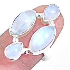 925 sterling silver 12.04cts natural rainbow moonstone ring size 7.5 p15952