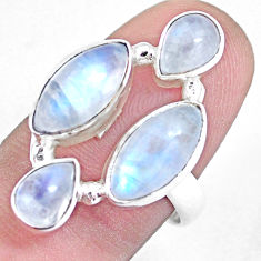 11.66cts natural rainbow moonstone 925 sterling silver ring size 7.5 p15954