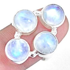 12.64cts natural rainbow moonstone 925 sterling silver ring size 7.5 p15957