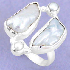 12.40cts natural white biwa pearl pearl 925 sterling silver ring size 8 p15961