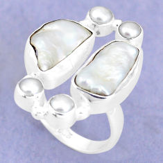 13.07cts natural white biwa pearl pearl 925 sterling silver ring size 7 p15964