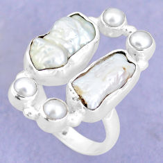 12.40cts natural white biwa pearl pearl 925 sterling silver ring size 7 p15969